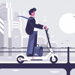 Young man riding electric scooter modern cityscape background. Ecology transport concept. Flat style. illustration.